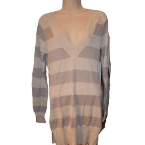 Bitten SJP Stripe Deep V-Neck Sweater Beige L